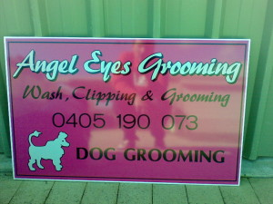 Angel Eyes Grooming sign.